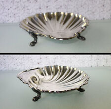 """CLAM SHELL DISH BOWL DOLPHIN FOOTED Silver Plate on Copper 7.5"""" by Crescent Mfg."""