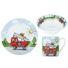 3er Set Kindergeschirr Feuerwehr Porzellan Geschirr Kinder Teller Schüssel Tasse