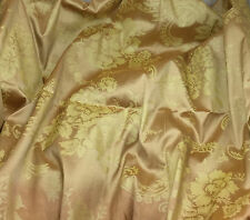 """Printed Silk DUPIONI Fabric Bronze & Gold Floral 54"""" by the yard"""