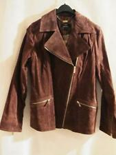 DENNIS BASSO~Washable Suede Leather Motorcycle (Moto) Jacket~Walnut Brown~S~NWT