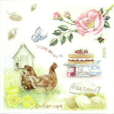 4x Single  Party Paper Napkins for Decoupage Decopatch Craft Farm Food Animals