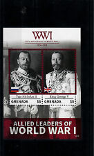 Grenada 2014 MNH WWI 100th Ann First World War Allied Leaders 2v S/S Tsar Stamps