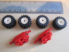 LEGO 2 Sets of Technic Wheel Units with Spring Suspension RED & 4 White Wheels