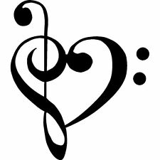 TREBLE BASS CLEF HEART Music Vinyl Wall Art Decal Words Lettering Decor Home