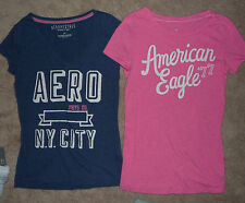 Lot American Eagle Aeropostale Soft cotton graphic tees t-shirts tops Size S Jrs
