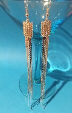 Stunning Silver Tone Crystal Rhinestone Extra Long Chain Tassel Drop Earrings