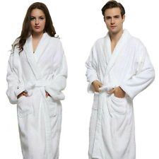 White High Quality Cotton Twist Towel Bathrobe For Men Women Nightwear Long Robe
