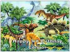 Dinosaur Scene Personalised Wafer Paper Topper For Large Cake Various Sizes A4