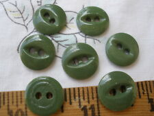 "Green China Stencil Buttons 7 pieces matching 11/16"" fisheye victorian antique"