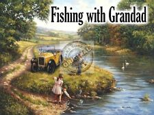 Fishing With Grandad, Vintage Car, Austin A7, Countryside, Small Metal/Tin Sign