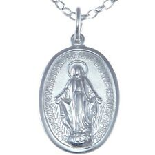 "POLISHED STERLING SILVER MIRACULOUS MARY MEDAL PENDANT NECKLACE WITH 18"" CHAIN"