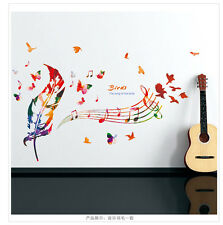 Living Room Bird Music Feathers Wall Sticker Mural Art Vinyl Decals Home Decor