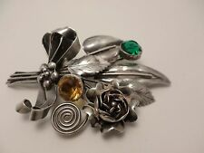 Vintage Hobe sterling silver bouquet brooch emerald & golden crystal facet stone