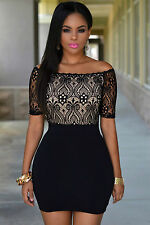 Mini Abito cono nudo pizzo ricamato aderente Lace Top Off Shoulder Mini Dress XL