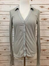 James Perse 3 Gray Button Front Ribbed Long Sleeves Top *3206