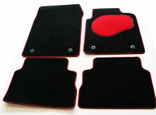 Peugeot 1007 05  Tailored Black Carpet Car Mats - Red Trim & Heel Pad