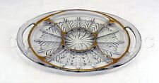 Clear Gold Rim Glass Floral Swirl Pattern Divided Serving Platter Plate Dish