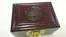Small Rosewood Antique Dark Huali Jewllery Box with Double Happy Character