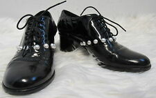 CHANEL black patent leather pearl lace- up oxford shoes sz I 39/ US 9