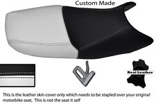 WHITE & BLACK CUSTOM FITS SUZUKI GS 500 01-09 DUAL REAL LEATHER SEAT COVER