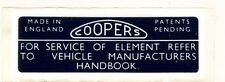 Classic Mini Coopers Air Filter Sticker ST120 twin carb label s 1275 austin 998