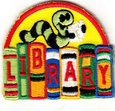 """""""LIBRARY"""" - Iron On Embroidered Patch/School, Learning, Words, Books"""