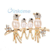 Vintage Jewelry Gold Plated  Family Rhinestone Pearl Brooch Pins Women's