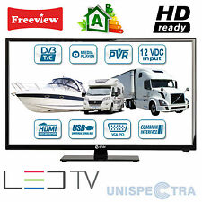 "MOTORHOME CARAVAN BOAT 12V 19"" Inch HD LED Digital Freeview TV 12 Volt USB PVR"