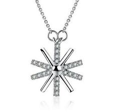 Wholesale 925 Sterling Silver Necklace Snowflake Pendant Fashion Jewelry Gift