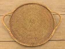 """PAMPERED CHEF Woven Selections 17"""" Round Wicker Rattan Serving Tray"""