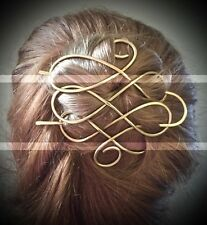 Celtic Hair Barrette Brass Hair Bun Holder Long Hair Clip Gold Hair Fork