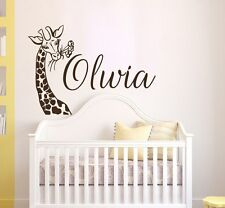 Girls Name Wall Decal Giraffe Vinyl Sticker Baby Nursery Decor Home Art T128