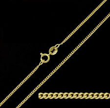 """9ct Solid Yellow Gold Diamond Cut Curb Chain Necklace 18"""""""
