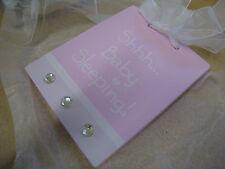 """Splosh """"SHHH... BABY SLEEPING"""" sign GIRLS pink nursery door wall hanging plaque"""