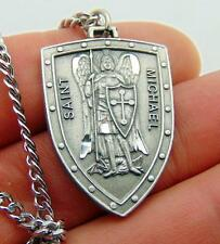 "St Michael Solid Pewter Shield Saint Medal Diamond Cut with 24"" Chain Boxed"