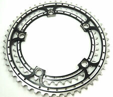 Black Chainring Set Rino Anodized 42 & 52T 144 BCD fits Campagnolo Cranksets NOS