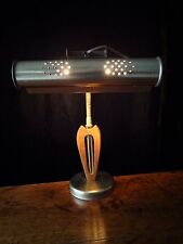 VTG Mid Century DANISH MODERN GOOSENECK PIANO DESK LAMP WALNUT TEAK WOOD BRASS