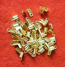 50 gold plated folding crimps/ends for thong or cord, findings for jewellery
