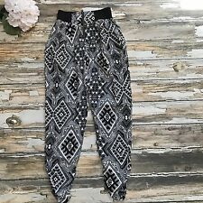 Material Girl Pants Women S Printed High Waisted Jogger Rayon Tribal Black White