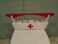 Vintage First Aid Tote Caddy Ambulance Caddy/Equipment Tote Red Cross Wood Box