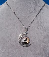 Filigree Crescent Moon 'Howling Wolf' Glass Cabochon Necklace.Handcrafted