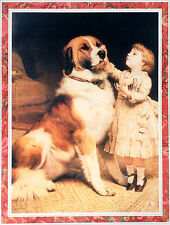 SAINT BERNARD St. and  VICTORIAN CHILD DOG ART PRINT - Charles Burton Barber