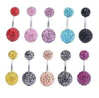 Surgical 10mm&6mm Steel Shamballa Disco Ball Belly Bar / Navel Ring UK Stock