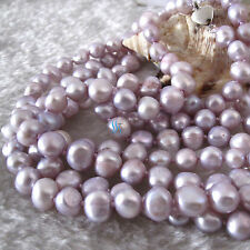 """52"""" 7-9mm Gray-Pink Baroque Freshwater Pearl Necklace"""