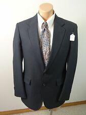 VTG PERMA-PREST COLLECTION NAVY PINSTRIPED POLYESTER SPORT SUIT JACKET SIZE 40R