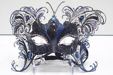 VENETIAN STYLE BLACK AND BLUE BUTTERFLY DESIGN  MASK WITH METAL