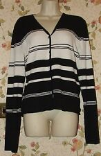 LADIES ESSENTIALS LONG SLEEVE BLACK & WHITE STRIPED CARDIGAN SIZE UK 14-16