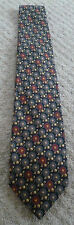 MARKS AND SPENCERS NAVY, GOLD & RED LION PATTERNED SILK TIE