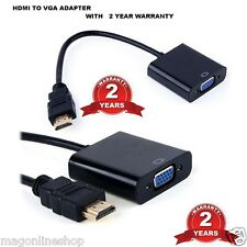 Black HDMI to VGA Adapter Converter Cable Without Audio - 2 Years Warranty