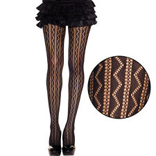 Black Semi-Sheer Vertical Zig Zag Striped Net Pattern Pantyhose Gothic Tights